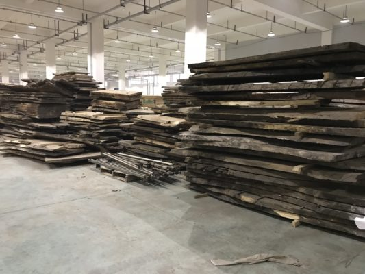 Suar Wood Slabs in Singapore factory