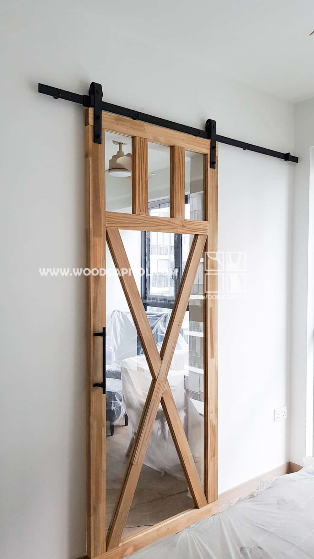 Wood Capitol Glass Barn Door 2