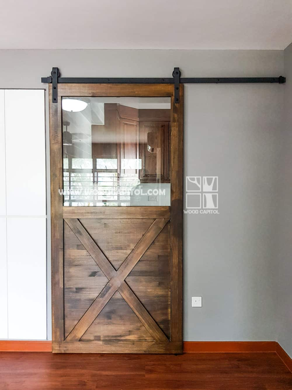 Wood Capitol Glass Barn Door