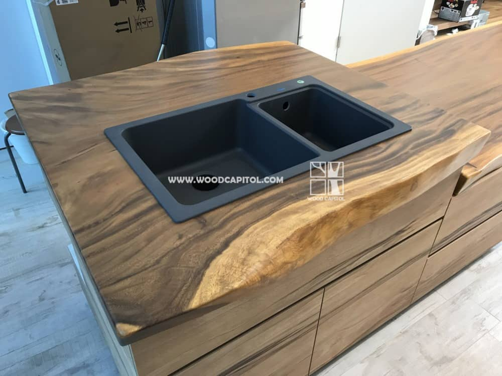 Wood Capitol Suar Wood Kitchen Sink Counter Top 2