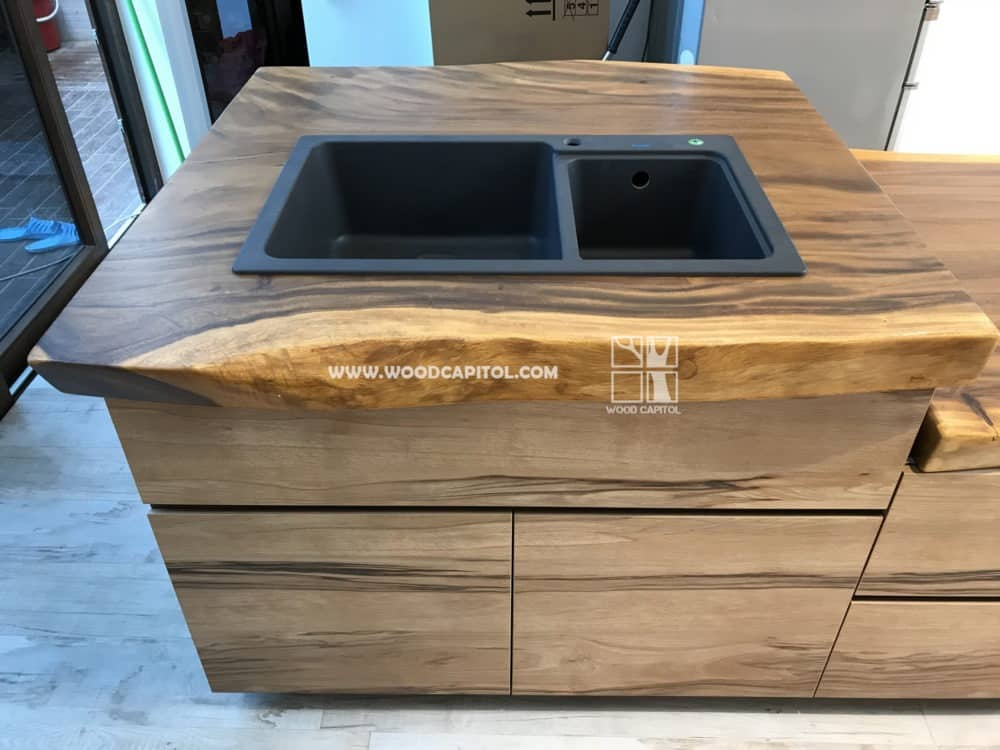 Wood Capitol Suar Wood Kitchen Sink Counter Top