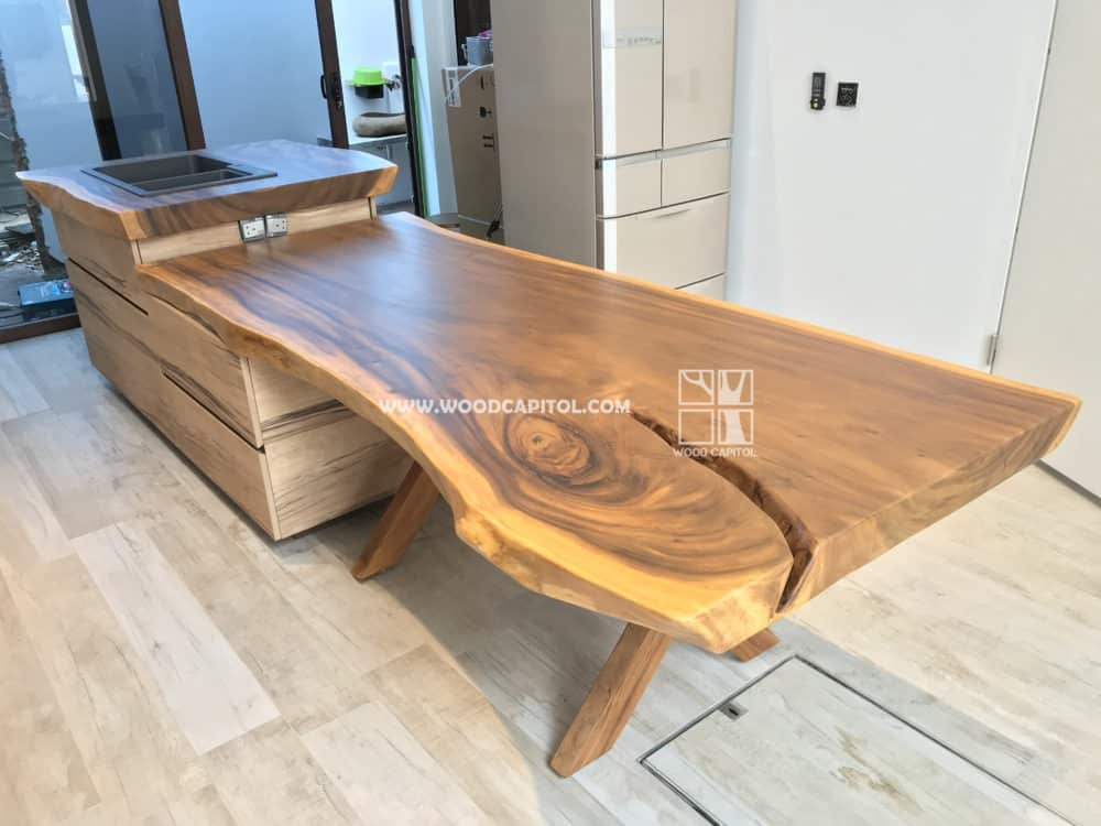Wood Capitol Suar Wood Kitchen Sink Top with Dining Table